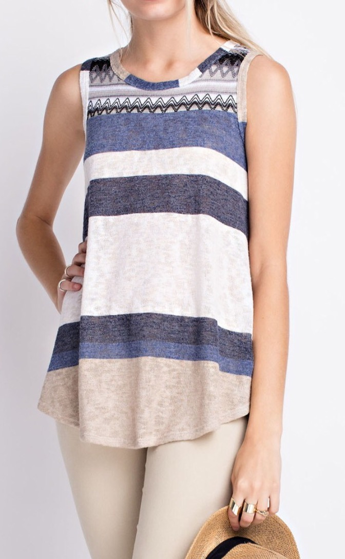 f8ddee3d72667c Blue and Beige Striped Sleeveless Top – Treselle Boutique